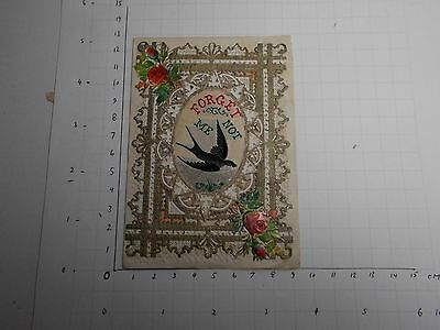 Antique Victorian Sweetheart Card Polychrome Silk Swallow Forget Me Not