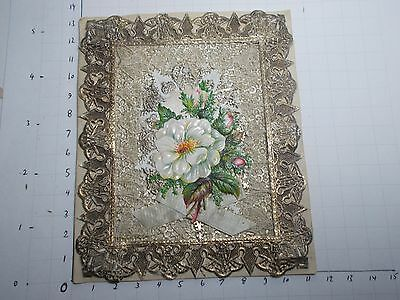 Antique Victorian Sweetheart Card Polychrome Silk Paper Lace Forget Me Not