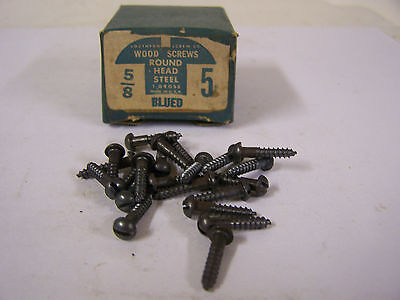 """#5 x 5/8"""" Round Head Blued Wood Screws Slotted Vintage Made in USA Qty 144"""