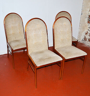 4 Gplan Light Fabric and Wood Dining Chairs - 754