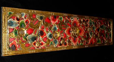 """Balinese Lotus Relief Panel Hand Painted Carved Wood wall Art architectural 57""""L"""