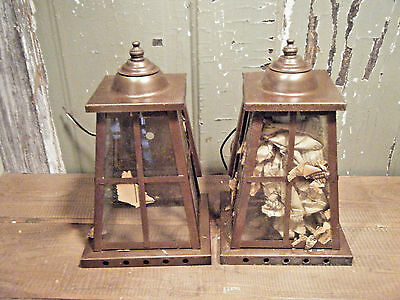 Pair Vintage Solid Brass Light Fixture Sconce Wall Porch Antique Patina Soldered