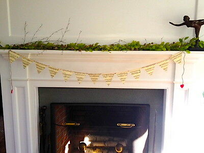 Vintage sheet music pennant style banner/garland