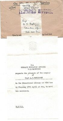 WW2 Palestine Certified Official Cover & Letter OHMS Reuse Label Field Post