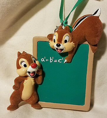 Disney Parks Chip & Dale Chalkboard Ornament Christmas Holiday - NEW