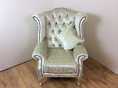 Luxury Queen Ann Ivy Coloured Crushed Velvet Wing Back Chair
