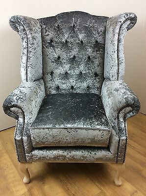 Luxury Queen Ann Crushed Velvet Steel Grey Wing Back Chair
