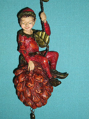 Elf on Pine Cone Ornament North Pole Forest Collection by Mark Roberts Retired