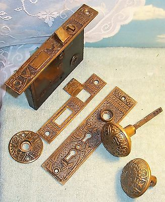 Antique 1800's Ornate Cast Bronze Door Lock Set, DOUBLE Key Lock + Flip Lock