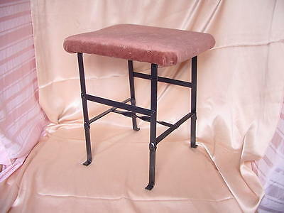 Vintage Art Deco Era Cushioned Metal Sewing Stool Bench Seat Nr