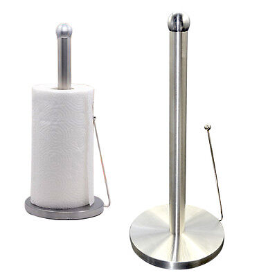 Stainless Steel Kitchen Paper Towel Roll Holder Freestanding Metal Pole Stand UK