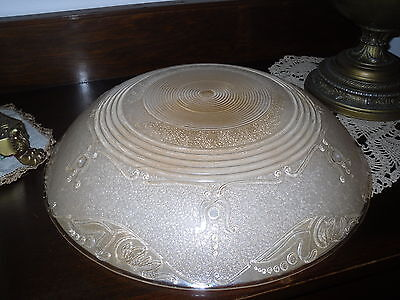 """Antique 1920's Blush Color 3-Chain Ceiling Light Shade~16"""" Dia. X 3 1/2""""h"""
