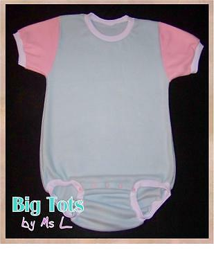 Adult Baby BLUE w/ pink Fleece onesuit   *Big Tots by MsL* *