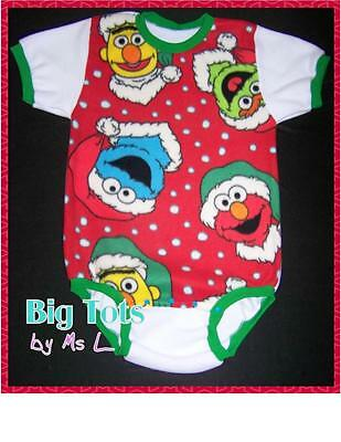 Adult Baby Chrstmas Sesame Street Fleece onesuit   *Big Tots by MsL*