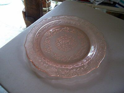 "Normandie Bouquet and Lattice pink 11"" dinner plate-rare"