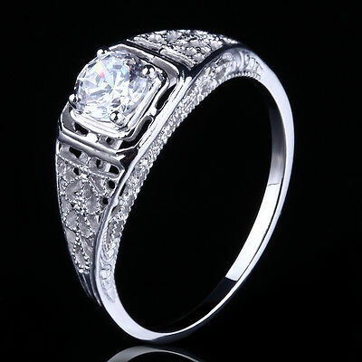 The Best? SOLID SILVER 925 WOMEN 4.5MM ROUND CZ ANTIQUE VINTAGE ENGAGEMENT RING