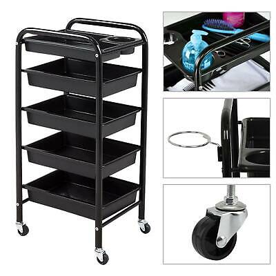 Salon Hairdresser Barber Spa Beauty Storage Hair Trolley 5 Drawers Roller Cart