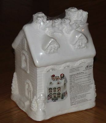 vtg California Creations 97200 Up on the Rooftop Santa Reindeer Large House