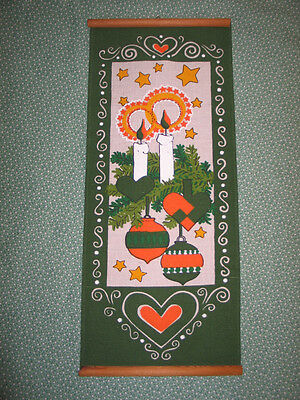 VTG Norway Sweden~Scandinavian Bell Pull-Wall Hanging~Christmas Candles/Hearts