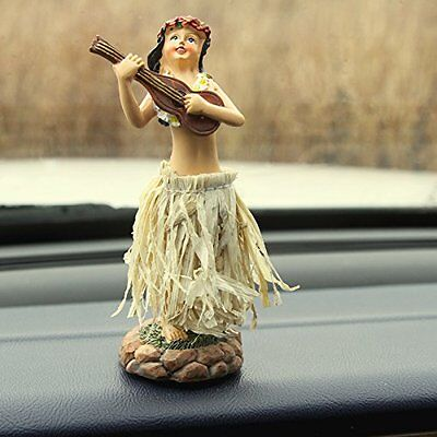 Dashboard Hula Doll Natural Skirt Hawaii Girl Lei Aloha Dancing Ukulele 5""