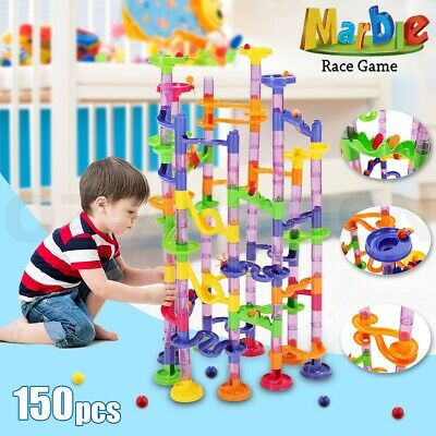 150Pcs Construction DIY Building Blocks Maze Race Run Track Marble Ball Kids Toy