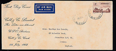1955 Australia Cobb & Co Horse Stagecoach Mail FDC Delivered GP Brisbane SCARCE