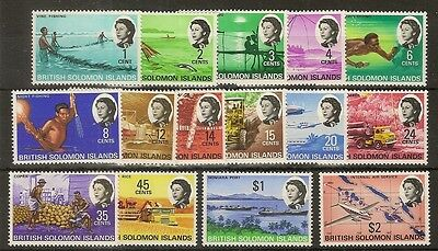 Br Solomons 1968 Definitives SG166-180 MNH c£23