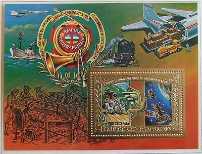CENTRAL AFRICA 1978, MNH GOLD Sheet, Airplane, Space, Train, Ship, Aviation, UPU