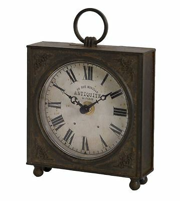 Vintage French-Style Distressed Metal Black Beige Carriage Clock 17X12X4Cm