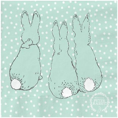 "Beatrix Potter Peter Rabbit Duck Egg Blue 3-Ply 20 Paper Napkins 13""X13""-33X33Cm"