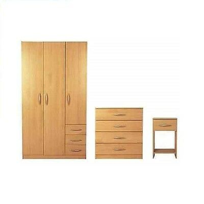 Brand New Furniture Set - Wardrobe, Chest of Drawers and Bedside Table - Beech