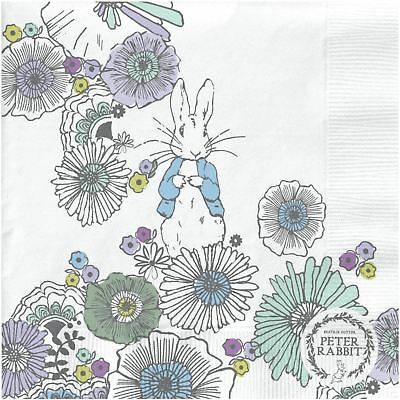 "Beatrix Potter Peter Rabbit Flowers Beige 3-Ply 20 Paper Napkins 13""X13""-33X33Cm"