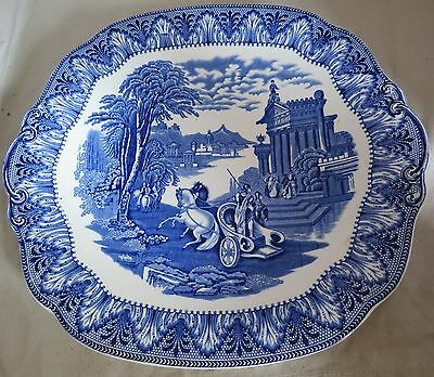 Cauldon Chariot Pattern  Blue and White Shallow Dish 9.5 x 9 inches
