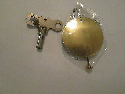 "NOS  Brass Pendulum Bob & Wire 2"" Cottage, Banjo Clock  With Key  (751H)"