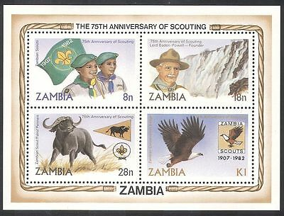 Zambia 1982 Scouts/Scouting/Baden-Powell/Waterfall/Eagle/Birds 4v m/s (b1949a)
