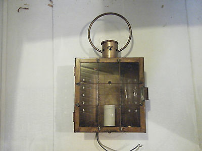 Vintage Solid Brass Light Fixture Sconce Wall Porch Antique Patina Door Lantern
