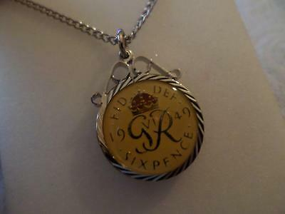 Vintage Enamelled Sixpence Coin 1946 Pendant & Necklace. Jewellery Present