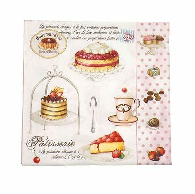 """French-Style Cakes Polka Pink 3-Ply 20 Paper Napkins Serviettes 13""""X13""""-33X33Cm"""
