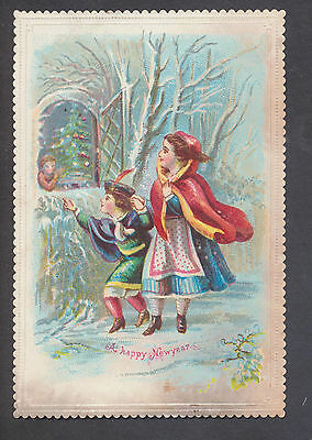C11421 Small Victorian New Year Card: Children Looking at Xmas Tree 1870s