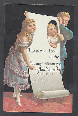 C11426 Good Victorian New Year Card: Children with Banner