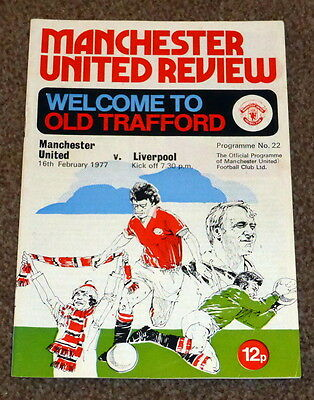 Football League Division 1 1976-77 Manchester United V Liverpool Programme - Vgc
