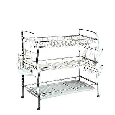 3 Tier Chrome Plated Stainless Steel Dish Drainer Plates Rack Holder Drip Tray