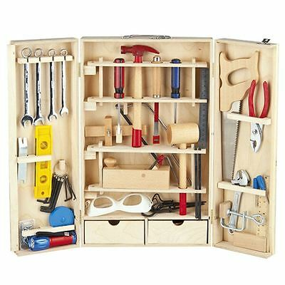 WOODEN TOOL KIT 50 PIECE TOY by LEOMARK SET KIDS ROLE PLAY CARPENTER