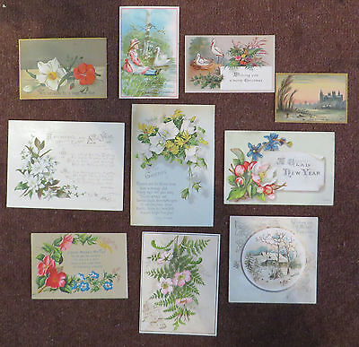 C11347 10 Victorian Xmas Cards: Mixed Subjects