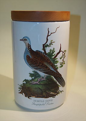 """Portmeirion Botanic Wildlife Dove canister with wood lid 7"""" tall Made in Britain"""