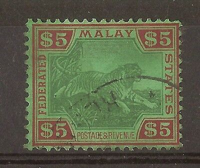 Federated Malay States 1934 $5 Tiger SG81 Fine Used Cat£275