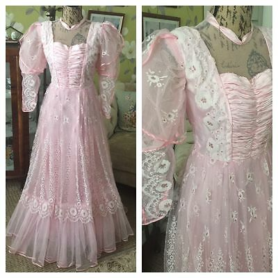 Vintage 80s Victorian Style Pink Sissy Princess Dress Lacy Frilly Dresses