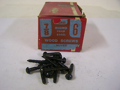 "#6 x 7/8"" Round Head Blued Wood Screws Slotted Vintage Made in USA Qty 144"