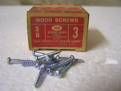 "#3  x 5/8"" Round Head Zinc Chromate Plated Wood Screws Slotted Qty.100"