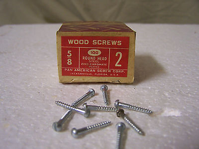 "#2  x 5/8"" Round Head Zinc Chromate Plated Wood Screws Slotted Made USA Qty.100"
